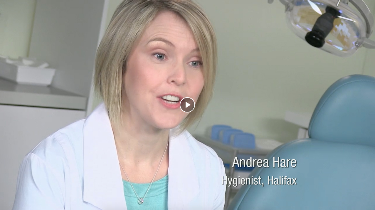 Female dental hygienist from Halifax discussing tooth enamel on a video